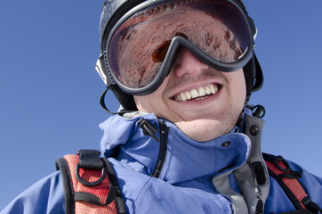 Male skier smiling