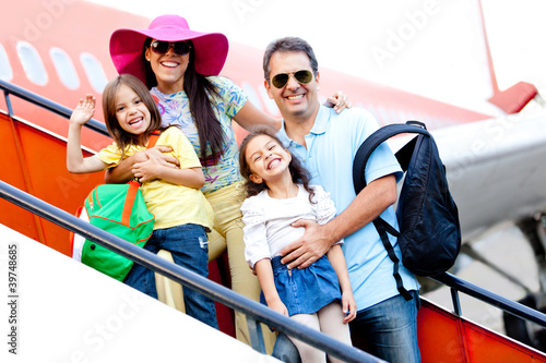 Family traveling by airplane