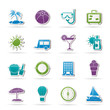 Vacation and holiday icons - vector icon set