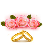 Gold wedding rings in front of three pink roses