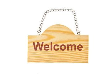 Wooden welcome sign board with holding chain isolate on white ba