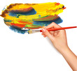 Abstract color background with hand  Vector