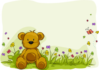 Toy Bear Foliage Background
