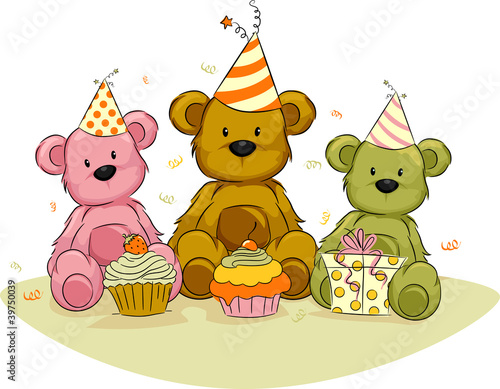 Deurstickers Beren Bear Birthday,