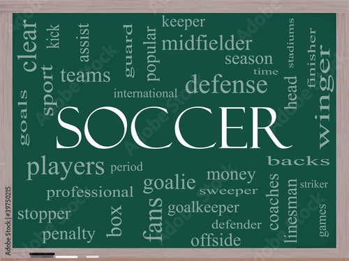 Soccer Word Cloud Concept on a Blackboard