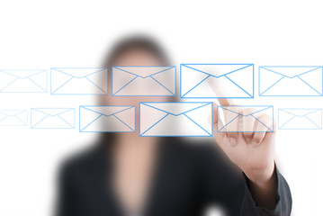Business lady pushing mail for social network.