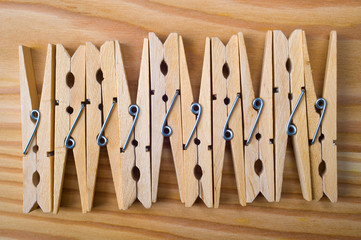 clothespin on a wooden board