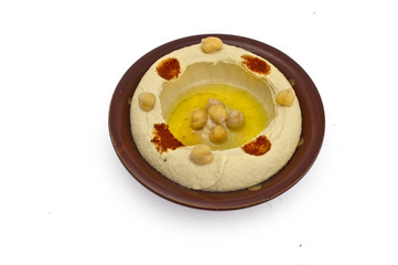 Bowl of fresh hummus dip