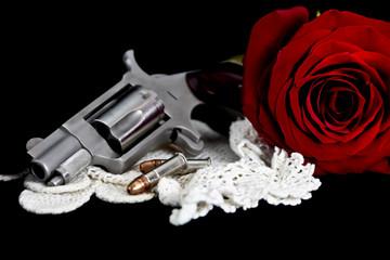 Rose with handgun