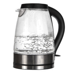 Tea kettle with boiling water isolated on white