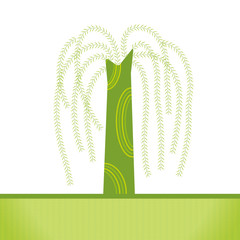 vector: artistic willow tree background