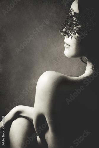 Fototapeten,schwarz,weiß,nude,maske