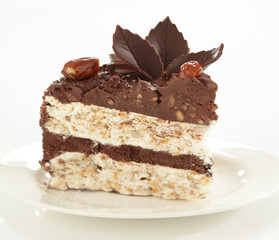 chocolate and hazelnuts cake, selective focus