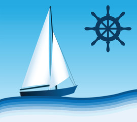 Sailing boat and Steering Wheel