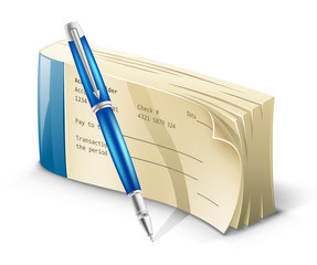 Checkbook with pen