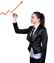 business woman drawing a graph of success