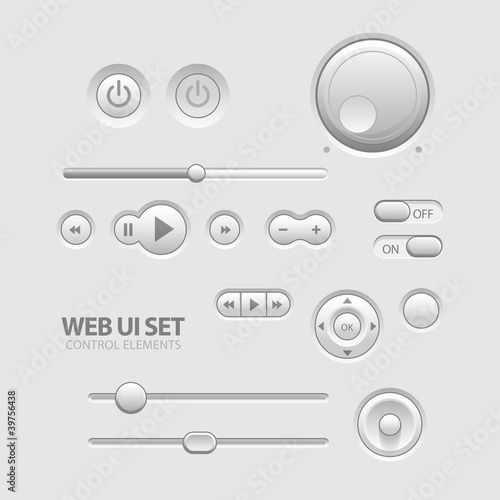 Light Web UI Elements Design Gray.