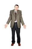 Bewildered man makes a helpless gesture poster