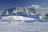 ski-run junction and Pale range, dolomites poster