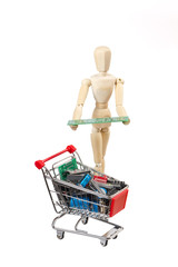Gliederpuppe mit Elektronik Einkaufswagen