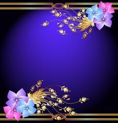 Golden frame wth flowers