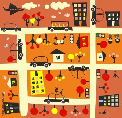 Foto op Plexiglas Op straat seamless street in autumn