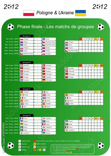 Foot - Calendrier des matchs de groupes 2012