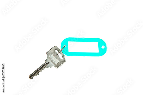 Key with blank label isolated on white background