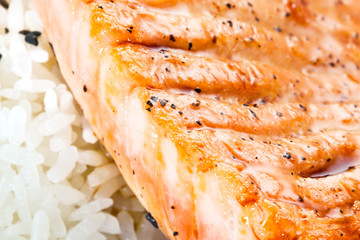 grilled salmon with rice. Macro