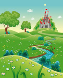 Panorama with castle. Cartoon and vector illustration.