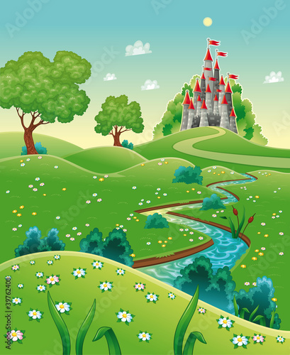 Aluminium Kasteel Panorama with castle. Cartoon and vector illustration.