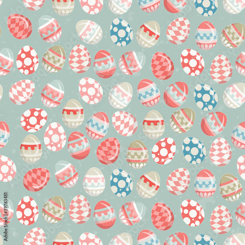 Materiał do szycia Easter Eggs -  old Easter seamless background in vintage style