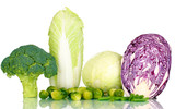 Fresh cabbages and broccoli isolated on white