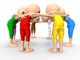Team spirit, business debate. 3d little humans