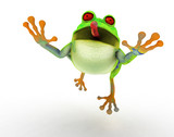 Toon frog jumping in a fly catch pose