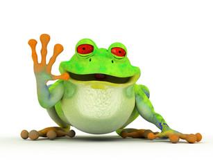 Happy smiling toon frog saying hi. On white