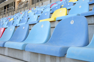 Close view of seats in main grandstand