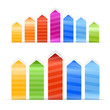 Different size color arrow stickers with stripes