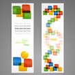 Set of vector information banners with colorful squares