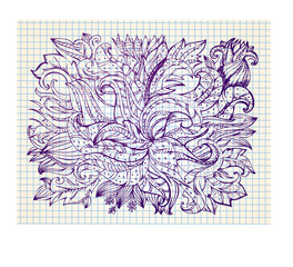 floral abstract drawing by hand