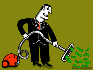 vacuum cleaner businessman