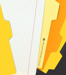 Background of color paper sheets and carton folders