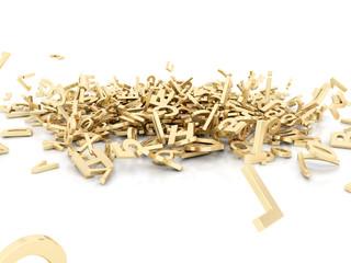 Buchstabensalat Haufen Gold