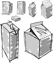 Sketch of milk boxes in some different angle. Vector