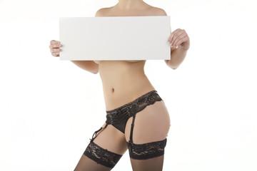 junge sexy frau in dessous mit botschaft freigestellt