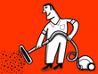 vacuum clener worker red background