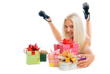 Beautiful sexy blond woman with present boxes on white backgroun