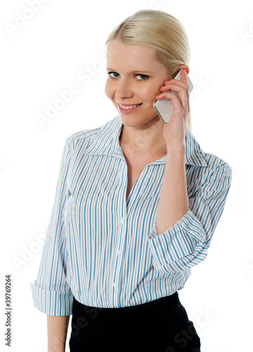 Close-up of a businesswoman talking on phone