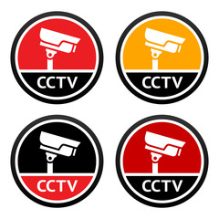 CCTV pictogram, set sign security camera