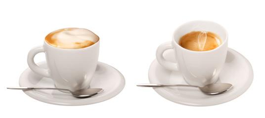 Caffè e cappuccino in tazza su sfondo bianco